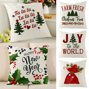 Christmas Pillow Case Xmas Linen Cushion Cover Throw Home Decor New Year Gifts C $1.29