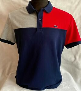 Lacoste Polo For Men 100% cotton Regular fit Blue Red Ash free shipping $44.99
