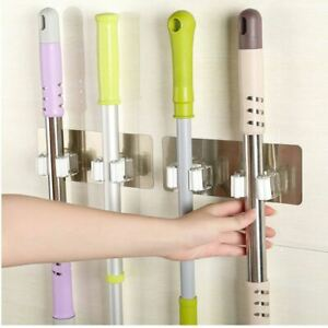 2 Wall Mounted Mop Organizer Holder Brush Broom Hanger Storage Rack Kitchen Tool