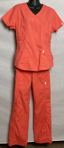 Code Happy Women#x27;s Scrub Set Medium Top Small Pants Orange Scrubs Short Sleeve