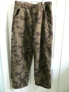 RARE Gander Mountain WOOL Camouflage Hunting Cargo Lined Pants Men#x27;s 36 X 32