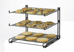3 Tier Cooling Rack Non Stick Mesh Wire Design Folds Flat Extra Support Arm New
