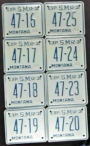 8 Unused 1984 MONTANA Meagher County 47 Small Trailer Low 2 Digit # Plates