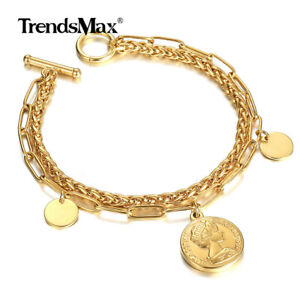 Womens Layered Gold Plated Stainless Steel Elizabeth Coin Charm Bracelet Chain $9.69