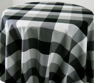 Round Tablecloth 40 42 Black and Grey Buffalo PLaid Check Dining Room Kitchen