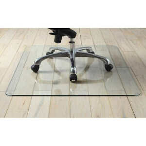 Lorell Tempered Glass Chair Mat 36quot; x 46quot; Scratch Resistant Any Type Flooring $64.99