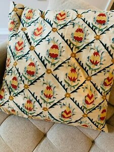 Pottery Barn 24quot; Pillow Cover Autumn Colors Wheat Red Green EMBROIDERY