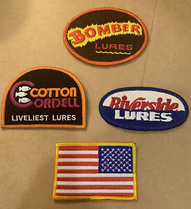 Vintage Fishing Lure Tackle Box Patches Lot of 4 BOMBER Cotton Cordell Riverside