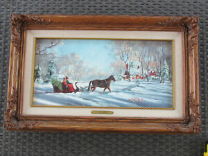 MARTY BELL SIGNED 8X16 LITHOGRAPH quot;HOME WITH THE TREEquot; #169 FRAMED CANVAS W COA $160.00