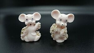 Vintage Pair of Pink with Gold Spaghetti Mice Lefton 2