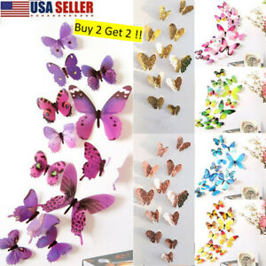 12 x 3D Butterfly Wall Stickers Home Decor Room Decoration Sticker Bedroom Girls $5.99