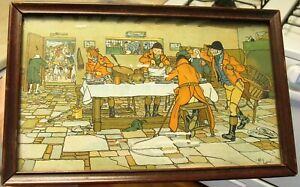 The Hunt Supper Antique Chromolithograph Print by Cecil Aldin Framed 6 1 2 x 11quot; $37.00