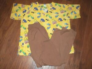 Scrubs Lot Short Sleeve Beach Summer Top Happy Size L amp; WS Brown M Pants