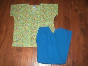 Scrubs Lot Short Sleeve Ocean Fish Tops Size M amp; Pants MP Lydia#x27;s Pro Series