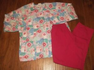 Scrubs Lot Long Sleeve Top Pink Floral Size XL amp; Pants M