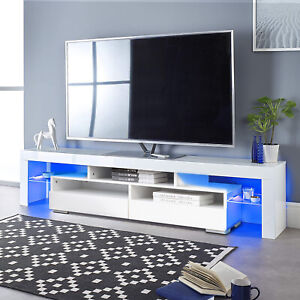 63quot; TV Stand Unit Cabinet Console Table with LED Shelve 2 Drawer Furniture White $169.99
