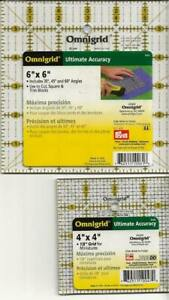 Omnigrid 4quot; x 4quot; And 6quot; x 6quot; Square Rulers Great Addition For Quilters $14.07