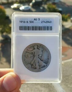 Vintage Holder 1916 S Walking Liberty Half Dollar ANACS AG3 $80.00