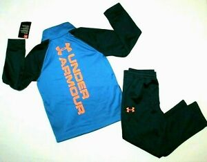 BOYS UNDER ARMOUR TRACKSUIT..FULL ZIP POCKETS SOFT LINING..BLUE ORANGE..NEW TAGS $22.99