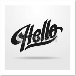 Hello Hand Lettering Art Print Canvas Print. Poster Wall Art Home Decor D
