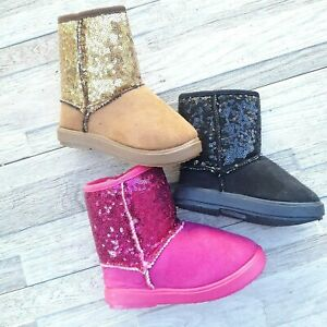 Infant Toddler Girls Boots Faux Fur Suede Sequins Size 7 11 NEW $13.99