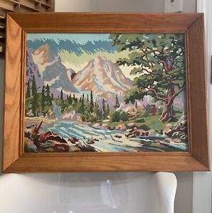 Large Vintage Framed Painting Paint By Numbers Mountain Forrest Landscape 29x23 $85.00