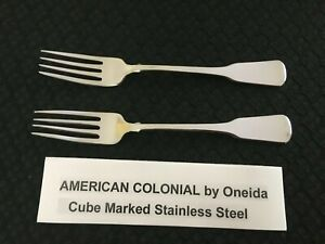 Lot of 2 Oneida American Colonial Cube Stainless Steel Dinner Forks Free Ship $49.99