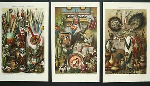 1897 Set of 3 antique lithographs: ETHNOGRAPHY. AFRICAN AMERICAN INDIAN CULTURE $19.50