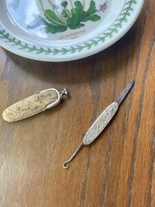 Rococo Lattice Silver Plate Chatelaine Knife Hook Sewing Tool Victorian in Case $89.00