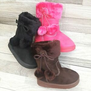 Infant Toddler Girls Boots Faux Fur Suede Size 6 11 Quality $14.99
