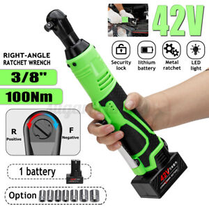 Electric Cordless Right Ratchet 3 8#x27;#x27; 42V 90° 100Nm Angle Wrench Tool1 Battery $49.10