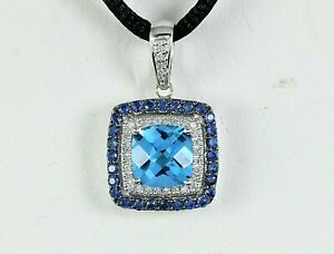 $1995 Levian 14K White Gold Blue Topaz Sapphire Round Diamond Pendant Necklace