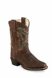 Old West Brown Green Kids Boys Leather Cowboy Boots $35.99