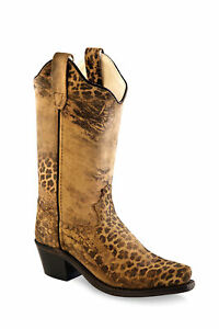 Old West Tan Youth Girls Leather 8in Leopard Cowboy Boots 4.5D $37.99