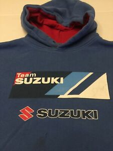 Vintage Team Suzuki Official Race Gear Blue and Red Hoodie Size Large $20.90