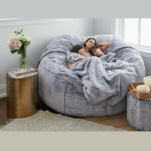 giant fur bean bag living room furniture Round Soft Fluffy Sofa WITHOUT FILLER $116.20