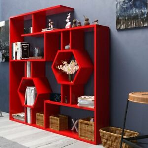 Large Geometric Bookcase Modern Wood Bookshelf Display Shelving Office Room Red $280.99