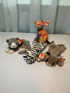 TY Beanie Babies LOT of 4 Cats Blizzard Purr Kaleidoscope and Canyon W Tag