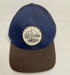 Columbia Hat Pacific Northwest Mesh Fitted Stretch Cap Navy L XL