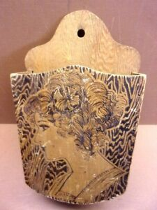 Vintage Wood Burned Wall Pocket Hand Crafted Elegant Lady 8 1 2quot; x 4 1 4quot; Unique $19.99