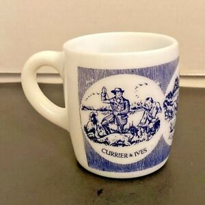 Currier And Ives A Good Day#x27;s Sport Blue and White Milk Glass Cup nug $12.99