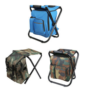 Foldable Fishing Chair Stool Backpack Hiking Camping Chair with Storage Cool Bag $19.82