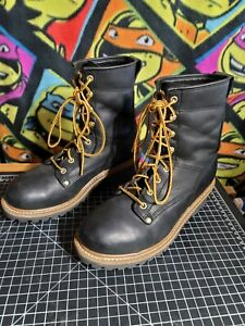 Men#x27;s Carolina Boots CA1825 8D Logger Safety Steel Toe Work Boot Black Leather