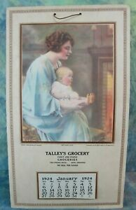 Vintage 1924 Calendar With Litho Print of Mother and Child Titled Mother Love $24.95