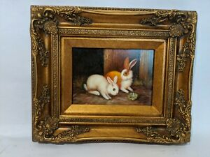 Ornate Framed Oil Painting Hand Painted Painting 7x5 inches Rabbit Bunny $59.95
