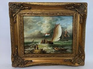 Ornate Framed Oil Painting Painting 8x10 inches Ship Sail Ocean $69.95