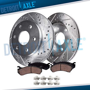 Front Trailblazer GMC Envoy Ascender 305mm Drilled Rotors Ceramic Brake Pads Kit $72.46