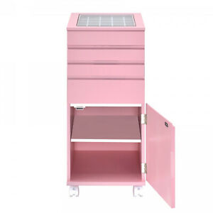 Glass Top Wooden Jewelry Armoire With Storage Compartments Pink $352.04