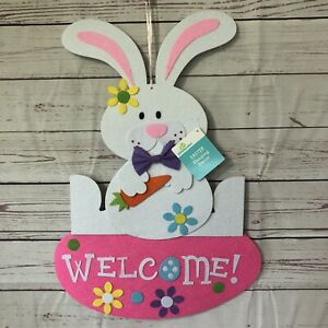 New Felt Easter Bunny Welcome Wall Door decor 20quot; x 14quot; Glitter Spring Holiday $14.00