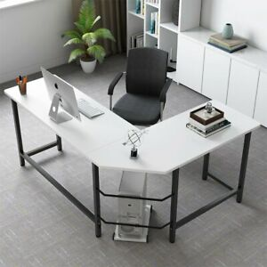 White Modern Stylish L Shaped Computer Desk Home Office Study Table Workstation $142.75